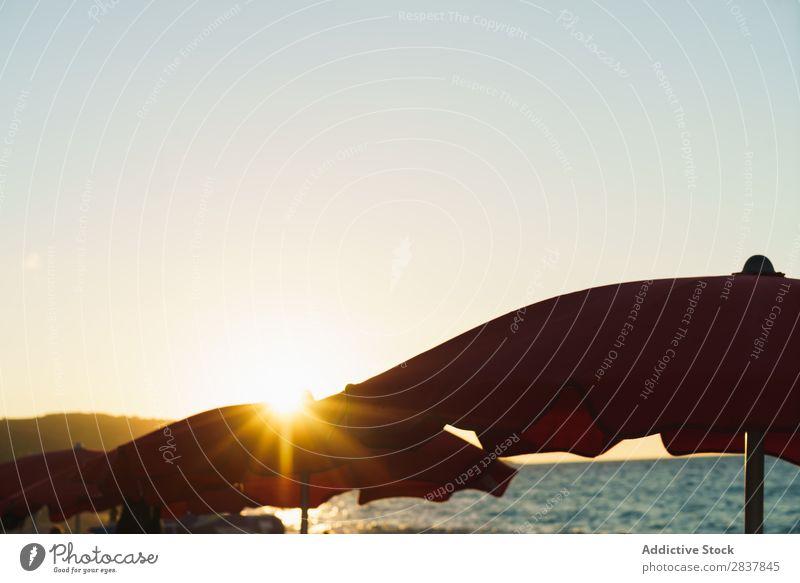 Sonnenschirme im Sonnenunterganglicht Strand Schirm Paradies Sommer Ferien & Urlaub & Reisen tropisch Erholung Resort Idylle romantisch Tourismus Küste