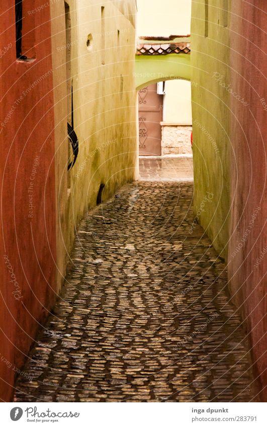 Noch ein kurzes Stück Siebenbürgen brasov Rumänien Europa Stadtrand Altstadt Menschenleer Mauer Wand Wege & Pfade Gasse Straße Fußweg Kopfsteinpflaster