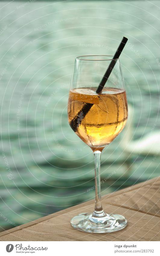 Prost! Ferien & Urlaub & Reisen Wasser schön ruhig Glas Ausflug Getränk trinken Seeufer Bar Stillleben Cocktail Verabredung Erfrischungsgetränk Trinkhalm ausgehen