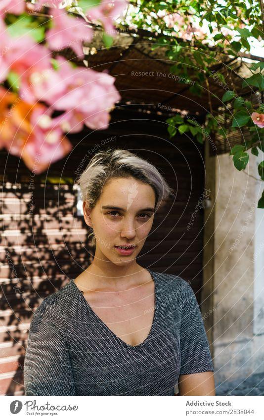 Lächelnde Frau am blühenden Baum Straße Blume Überstrahlung Körperhaltung heiter Sommer Frühling Großstadt attraktiv Mädchen schön Behaarung Glück Jugendliche