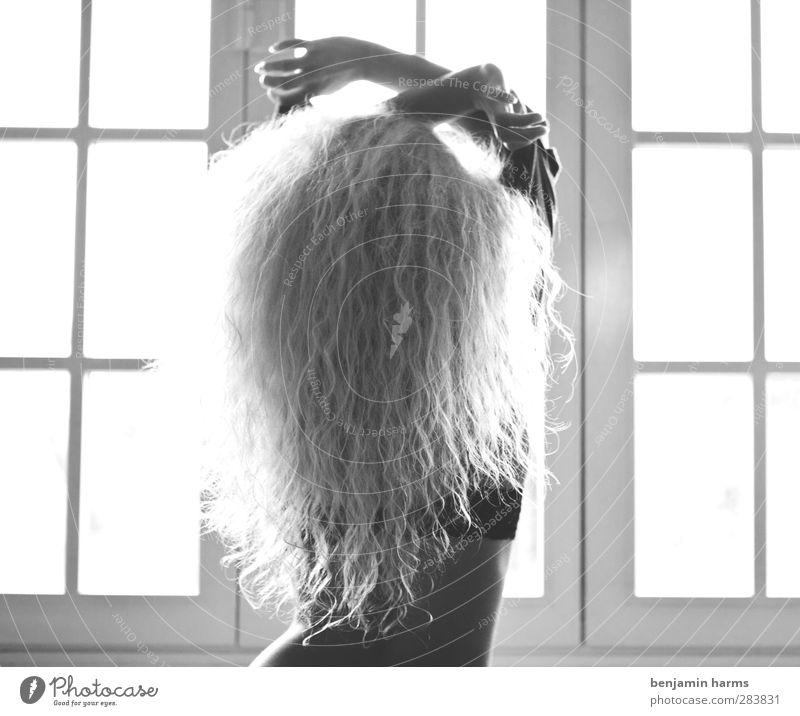 good morning neighbor feminin Junge Frau Jugendliche 1 Mensch 18-30 Jahre Erwachsene Fenster T-Shirt blond langhaarig Locken stehen Erotik entkleiden aufstehen