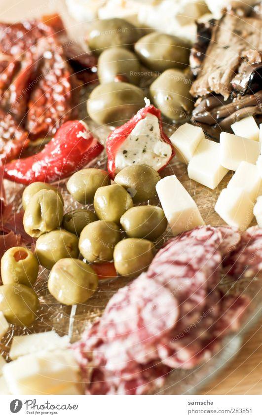 Antipasti Essen Lebensmittel frisch Ernährung Küche Gemüse Abendessen Fleisch Tomate Käse Wurstwaren Büffet Öl Brunch Chili Snack