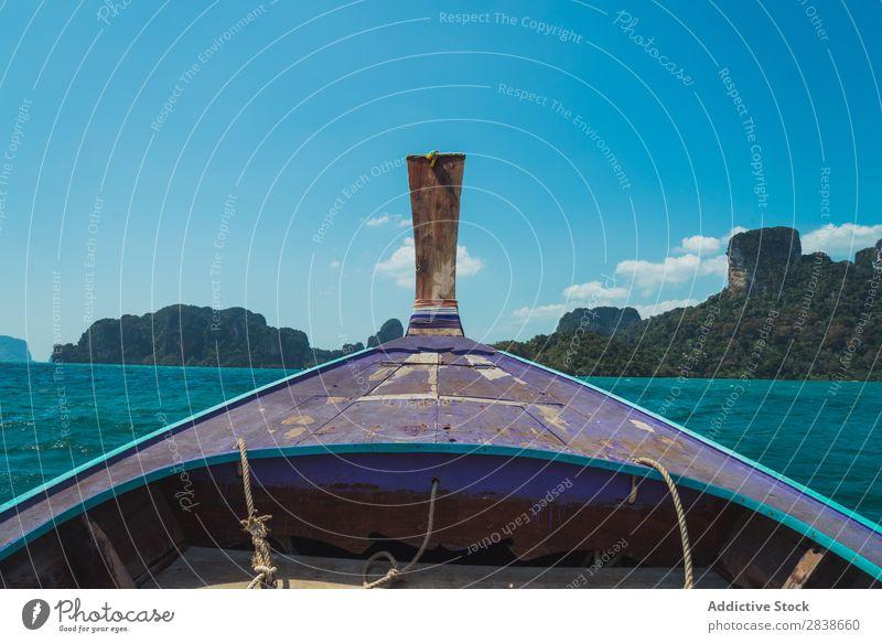 Metallnase des Bootes Wasserfahrzeug Nase Segel Segelboot Himmel Meer Gefäße Schiffsdeck Sport Jacht Ferien & Urlaub & Reisen Holz Seil Ausflug Verkehr nautisch