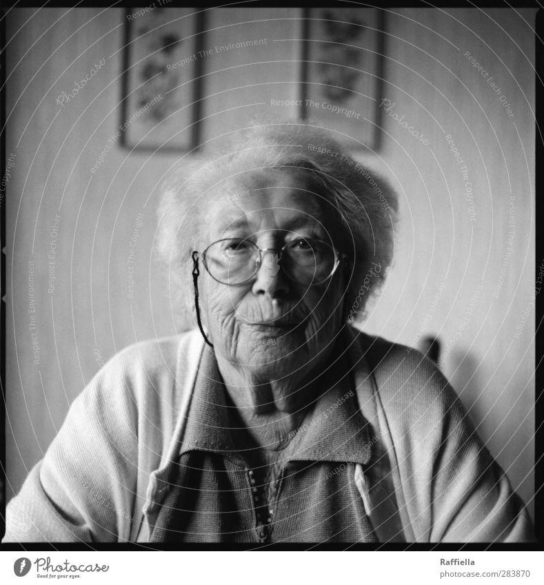 Gertrud. feminin Weiblicher Senior Frau Haut Kopf Haare & Frisuren Gesicht Auge Nase Mund Lippen 1 Mensch 60 und älter Hemd Bluse Strickjacke Brille weißhaarig