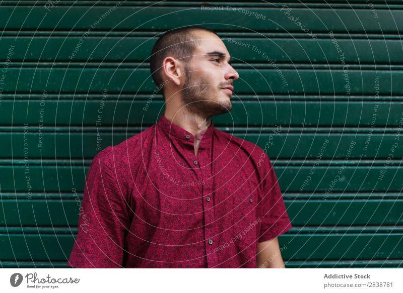Lässiger Mann, der in der grünen Wand posiert. selbstbewußt Körperhaltung Stadt Menschliches Gesicht lässig Außenseite Straße Sommer Ferien & Urlaub & Reisen