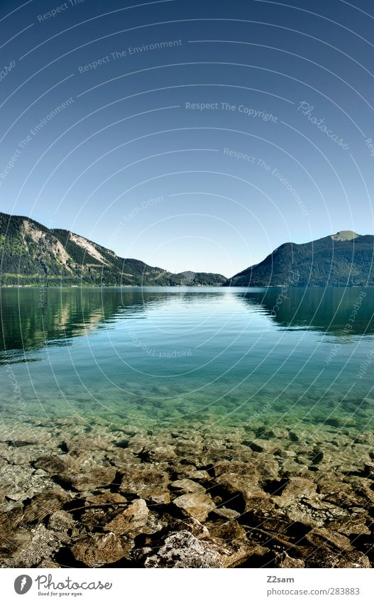 walchensee Natur Wasser Sommer Einsamkeit ruhig Landschaft Erholung Ferne Umwelt Berge u. Gebirge kalt See Horizont Felsen natürlich Schönes Wetter