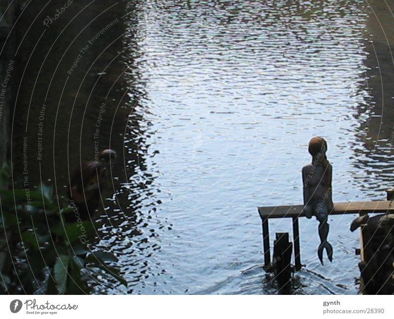 Meerjungfrau an der Gera Wasser Einsamkeit Romantik Religion & Glaube Mythologie Blauton