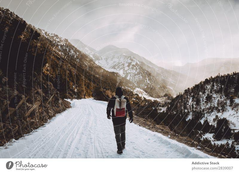 Tourist mit Rucksackwandern in den Bergen Mensch Winter Hügel Berge u. Gebirge Schnee Landschaft Natur weiß Eis Jahreszeiten kalt Ferien & Urlaub & Reisen Weg