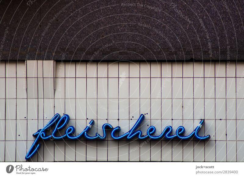 fleischfrei Handel Metzgerei Prenzlauer Berg Mauer Wand Fassade Dekoration & Verzierung Schriftzeichen Linie ästhetisch eckig Freundlichkeit retro blau grau