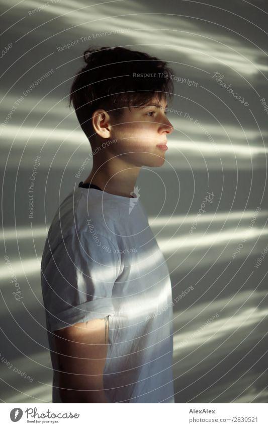 Portrait einer jungen Frau mit Lichtstreifen Stil schön Leben Raum Junge Frau Jugendliche 18-30 Jahre Erwachsene T-Shirt brünett kurzhaarig Licht & Schatten