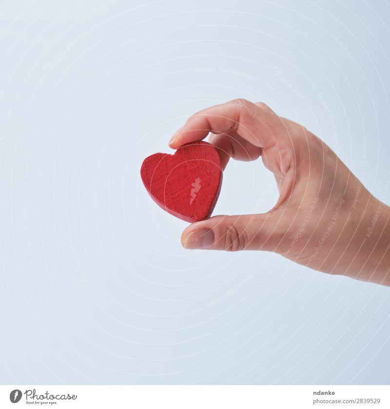 rotes Herz in menschlicher Hand Dekoration & Verzierung Feste & Feiern Valentinstag Hochzeit Frau Erwachsene 1 Mensch 13-18 Jahre Jugendliche Liebe weiß