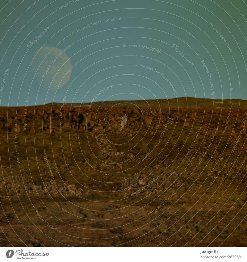 Melancholia Umwelt Natur Landschaft Urelemente Himmel Mond Vollmond Wetter Hügel Felsen Island fantastisch natürlich rund Farbfoto Außenaufnahme Menschenleer