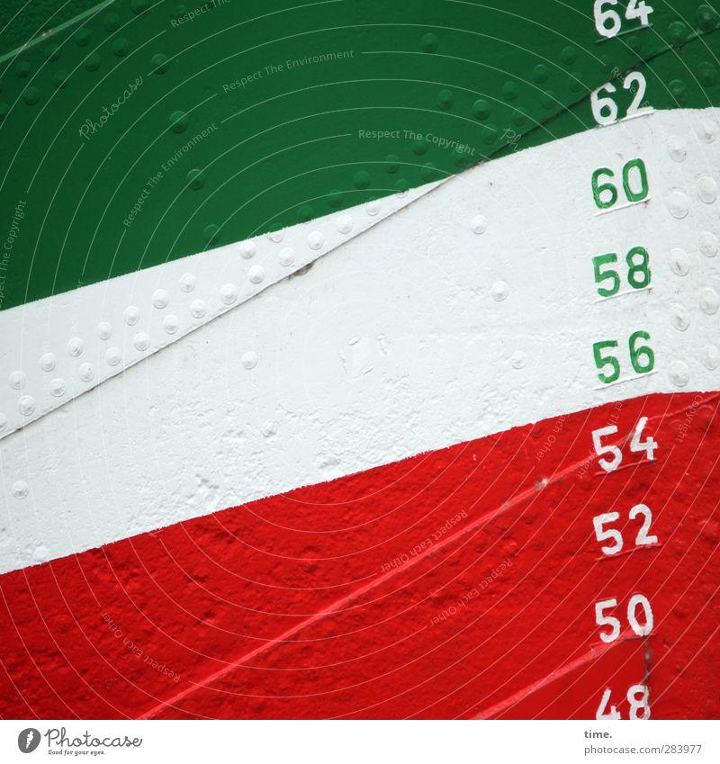 Anstieg Schifffahrt Wasserfahrzeug Niete Metall Zeichen Ziffern & Zahlen Hinweisschild Warnschild grün rot weiß Genauigkeit Ordnung Präzision Sicherheit