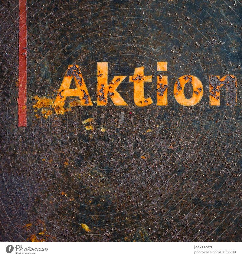 Alt & Rost in Aktion Ausstellung Metall Schriftzeichen Schilder & Markierungen Linie alt authentisch dreckig fest kaputt retro orange Stimmung Ausdauer