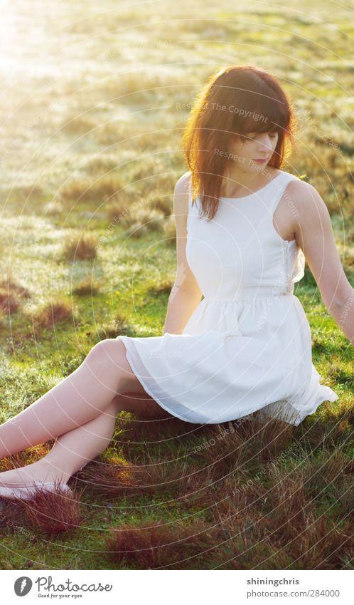licht Mensch feminin Junge Frau Jugendliche 1 18-30 Jahre Erwachsene 30-45 Jahre Natur Sonnenlicht Herbst Wiese Feld Mode Kleid Haare & Frisuren brünett Pony