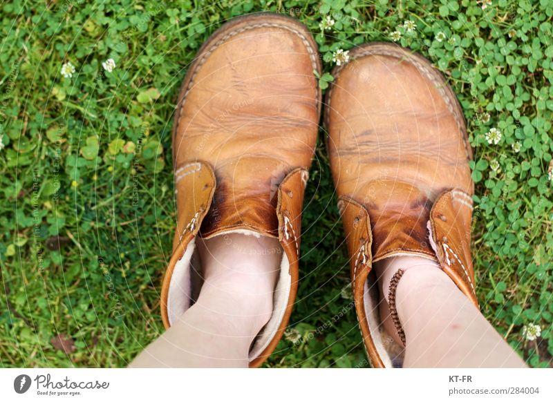 Hineinwachsen Beine Erde Sommer Schönes Wetter Gras Garten Wiese Schuhe stehen Wachstum groß klein braun grün Vorfreude Geborgenheit ruhig Fernweh Beginn