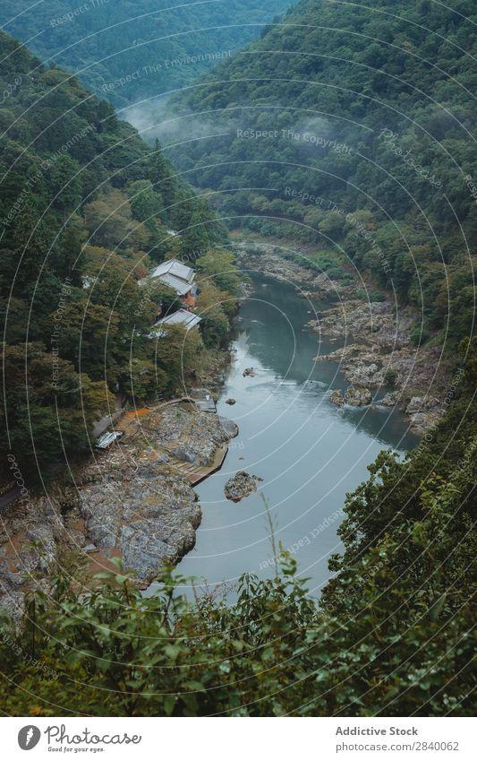 Fluss, der zwischen den Hügeln fließt Natur grün Schlucht Aussicht Berge u. Gebirge Klippe