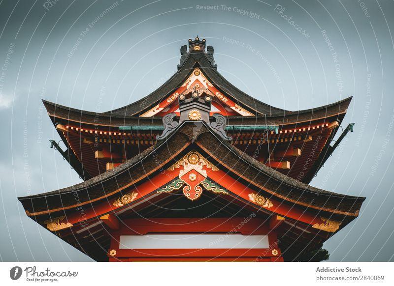 Buntes traditionelles asiatisches Gebäude Tradition Pagode Turm Kultur Architektur Tempel Asien Wahrzeichen Tourismus antik Ferien & Urlaub & Reisen Himmel