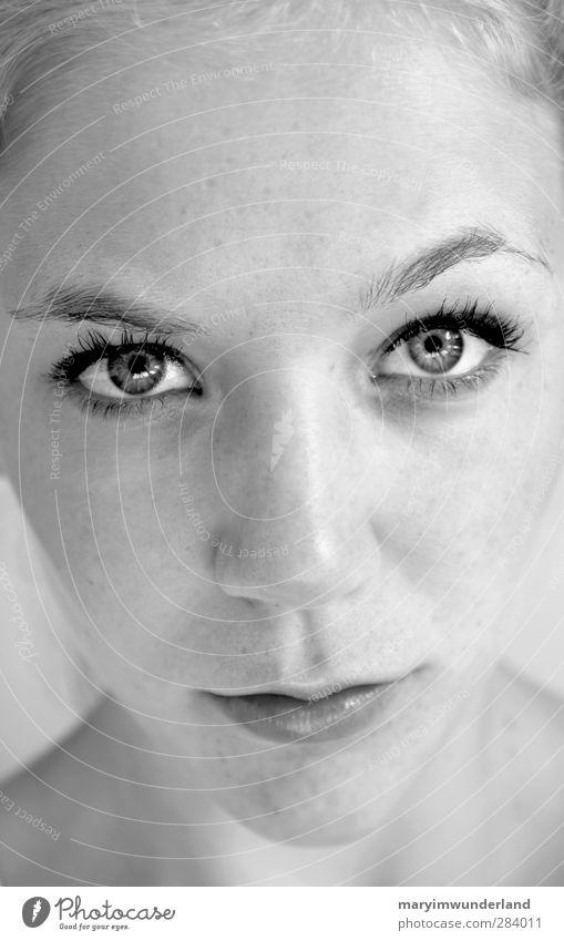 hallo. schön Gesicht Wimperntusche feminin Junge Frau Jugendliche Auge 1 Mensch 18-30 Jahre Erwachsene Begierde Ehrlichkeit authentisch Identität durchdringen