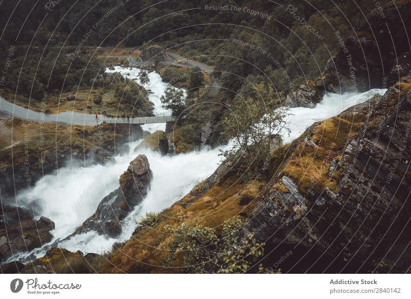 Fluss, der in den Bergen fließt fließen Natur grün Aussicht Geschwindigkeit Berge u. Gebirge Brücke