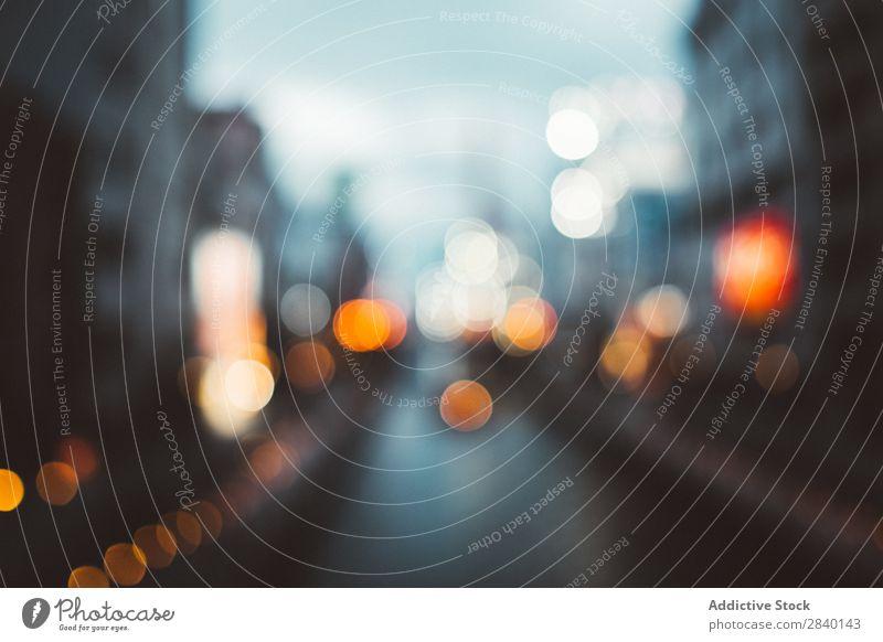 Verschwommene Stadtlichter Licht Unschärfe Großstadt Abend abstrakt Skyline Straße Gebäude modern Ferien & Urlaub & Reisen dunkel Verkehr Landschaft Autobahn