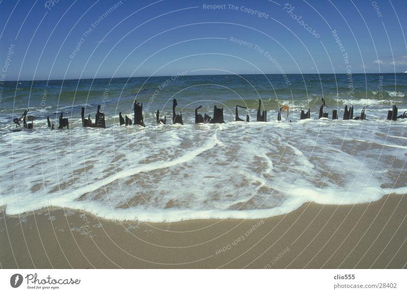 Meerblick Wasser Himmel blau Strand Ferien & Urlaub & Reisen Ferne Sand Wellen Horizont Zaun Schönes Wetter Nordsee Schaum