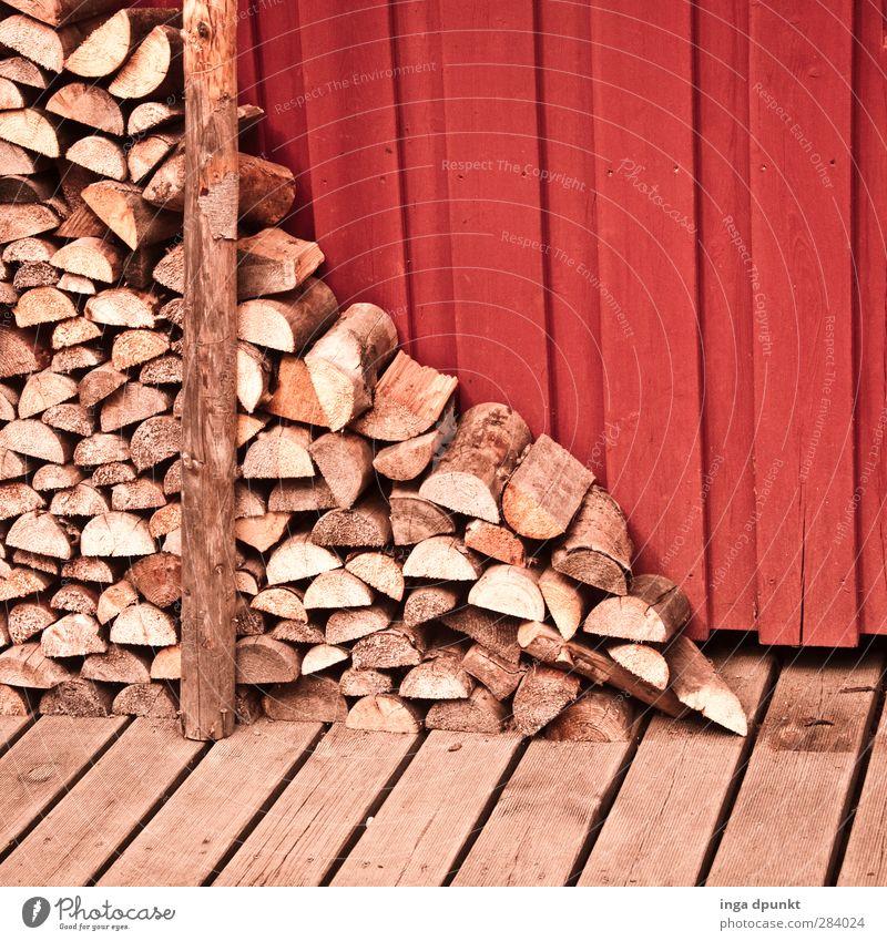 Werk eines Holzfällers Winter natürlich heizen Brennholz Stapel Vorrat Farbfoto Außenaufnahme Textfreiraum oben Tag Schatten Starke Tiefenschärfe
