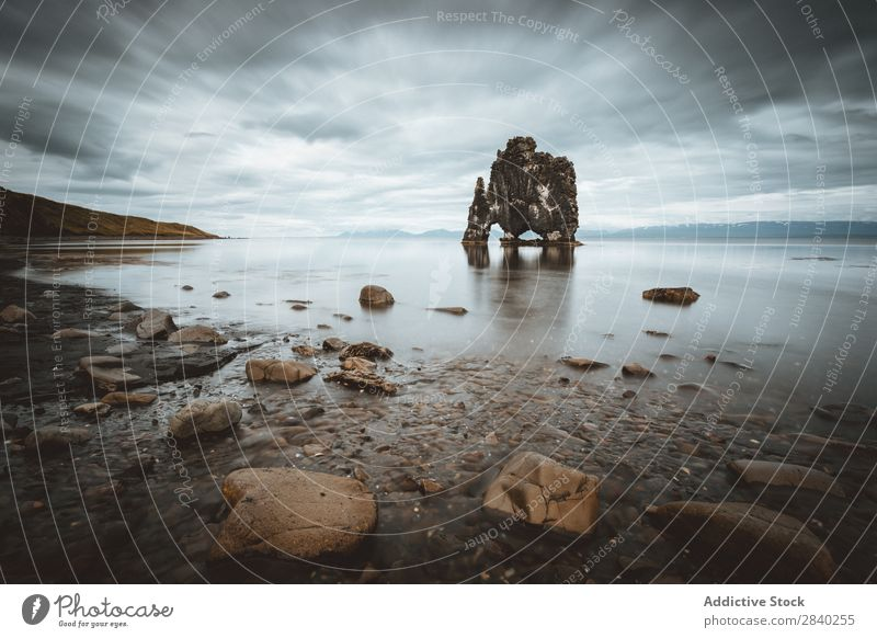 Hvitserkur Rock, Island Strand Himmel Meer Natur Landschaft Bucht Felsen