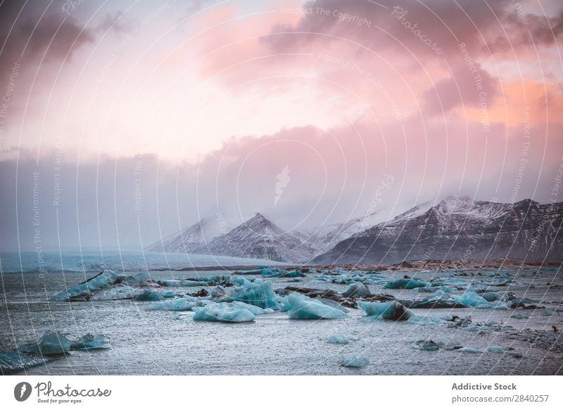Gletscherstücke am Meeresufer Küste Berge u. Gebirge Felsen Landschaft Ferien & Urlaub & Reisen Wildnis Tourismus Arktis Norden Ausflugsziel Eis Klima Wolken