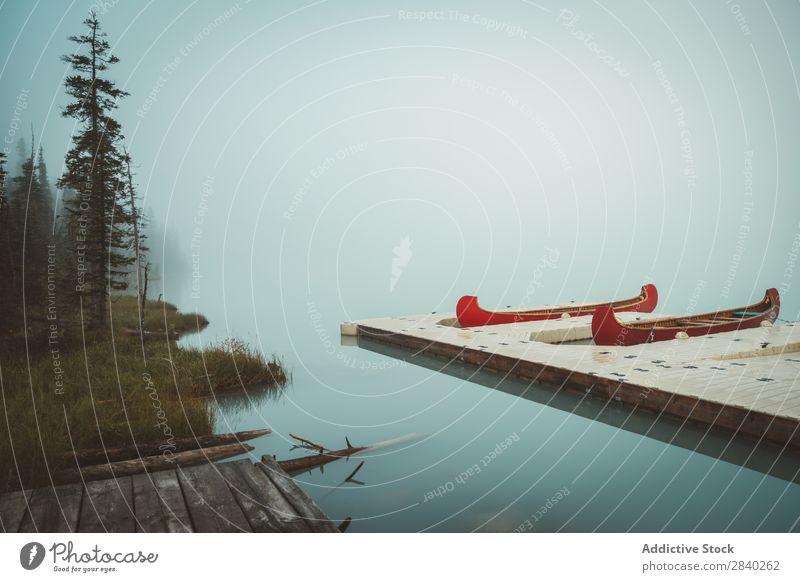 Boote auf dem Pier bei tollem Nebel Anlegestelle See Wasserfahrzeug geheimnisvoll Ferien & Urlaub & Reisen Tourismus Landschaft Idylle ruhig Verkehr Aussicht