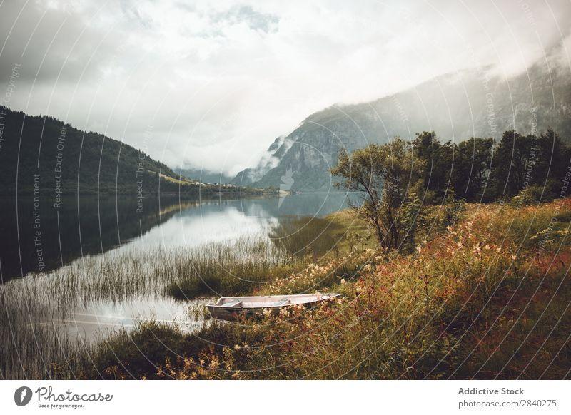 Ruderboot im norwegischen Fjord Wasserfahrzeug Norwegen See Reihe Reflexion & Spiegelung Fischereiwirtschaft Norweger norwegener Fjord Meer Landschaft Seeküste