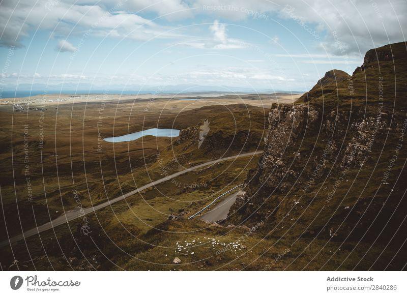 Quiraning, Skye, Schottland Landschaft Himmel Wahrzeichen Schotten schön Natur grün Insel Außenaufnahme Großbritannien Gras Beautyfotografie Mittelgebirge