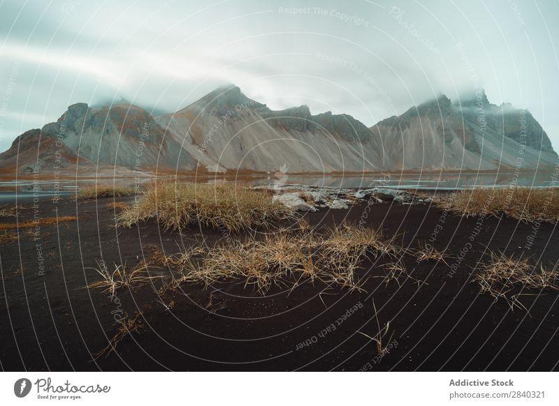 Vestrahorn, Stokksness, Island Landschaft Natur Berge u. Gebirge Küste Sand Meer isländisch Ferien & Urlaub & Reisen Aussicht schön vulkanisch Außenaufnahme
