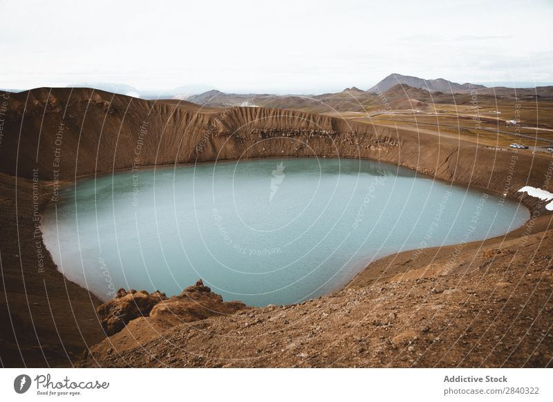Vulkan Viti Gegend blau Caldera Vulkankrater tief Berühmte Bauten Geologie Geothermik Ferien & Urlaub & Reisen heiß Island isländisch Krafla See Wahrzeichen