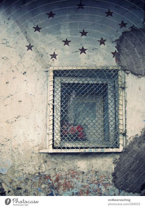 Fenster zu den Sternen Kleinstadt Altstadt Haus Bauwerk Mauer Wand Fassade Putz Blumenstrauß Stein alt Häusliches Leben authentisch trist grau