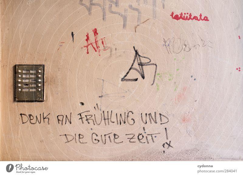 Herbst Jugendliche Einsamkeit ruhig Wand Leben Graffiti Senior Frühling Mauer Zeit Stadtleben träumen Schriftzeichen Kommunizieren Kreativität Zukunft