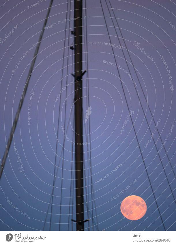 |. Himmel Mond Vollmond Schifffahrt Segelschiff Mast Takelage Stimmung Zusammensein Gelassenheit geduldig Fernweh Mondschein Farbfoto Gedeckte Farben