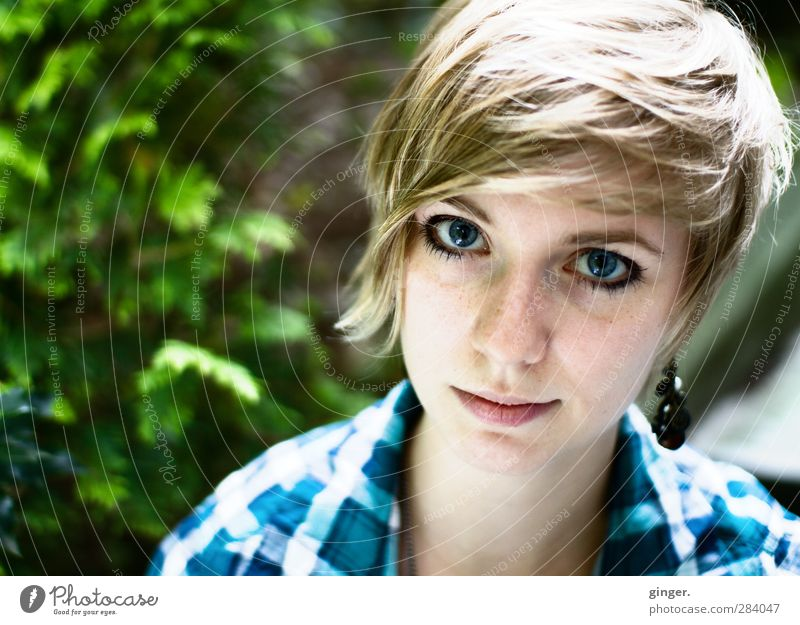 Blaue Augen Mensch feminin Junge Frau Jugendliche Erwachsene Leben Kopf Haare & Frisuren Gesicht Nase Mund Natur blond Freundlichkeit blau grün groß Blick