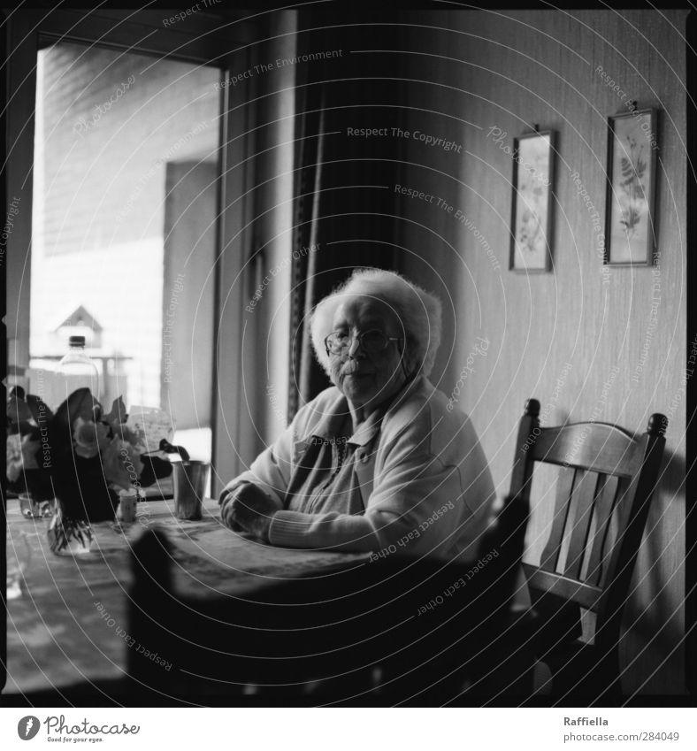 wartend. Mensch Frau Haus Erwachsene Fenster feminin Senior Innenarchitektur Tür Wohnung sitzen Häusliches Leben Tisch Dekoration & Verzierung Brille