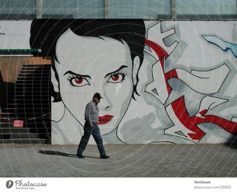 Graffiti Woman Mann Frau Lippen Mensch Mund Blick