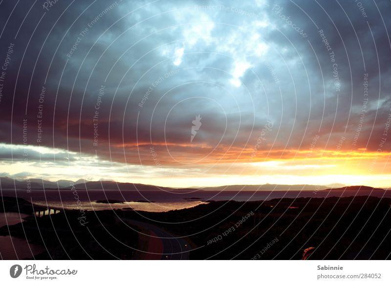 [Skye 05] Sonnenuntergang Umwelt Natur Landschaft Himmel Wolken Horizont Sonnenaufgang Sonnenlicht Sommer Klima Wetter Schönes Wetter Berge u. Gebirge Wellen