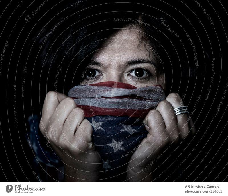 I can yes Mensch Frau Erwachsene Auge feminin Leben außergewöhnlich Coolness festhalten Fahne Stars and Stripes 30-45 Jahre braunes Auge