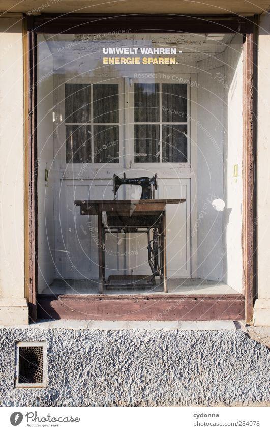 Handarbeit Fenster Wand Mauer Zeit Energiewirtschaft Zukunft Lifestyle Schriftzeichen Kommunizieren Wandel & Veränderung einzigartig Vergänglichkeit Kreativität