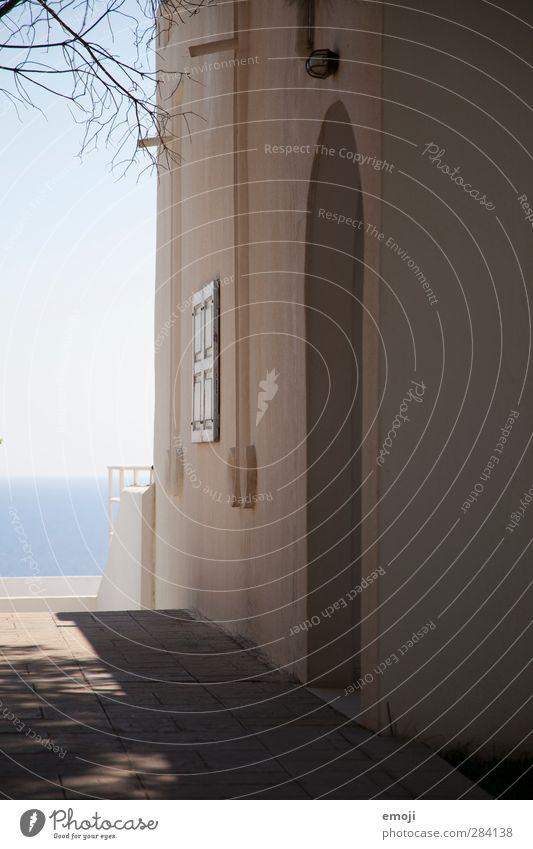 griechisch Himmel Sommer Schönes Wetter Haus Einfamilienhaus Traumhaus Gebäude Mauer Wand Fassade Wärme blau mediterran Farbfoto Außenaufnahme Menschenleer Tag