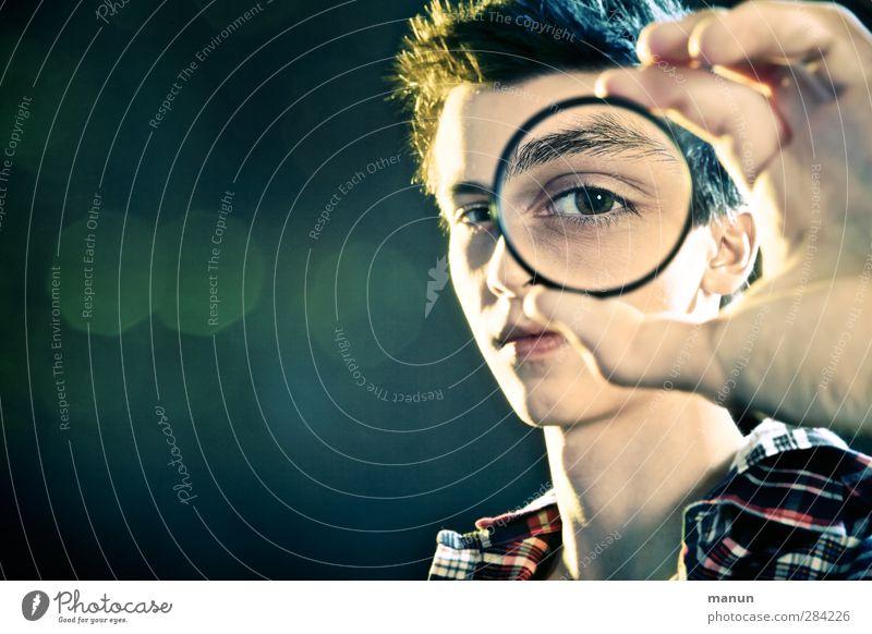 Voll der Durchblick! Bildung Schule lernen Berufsausbildung Azubi Optik Mensch Junge Junger Mann Jugendliche Leben Gesicht Auge 1 13-18 Jahre Kind Lupe