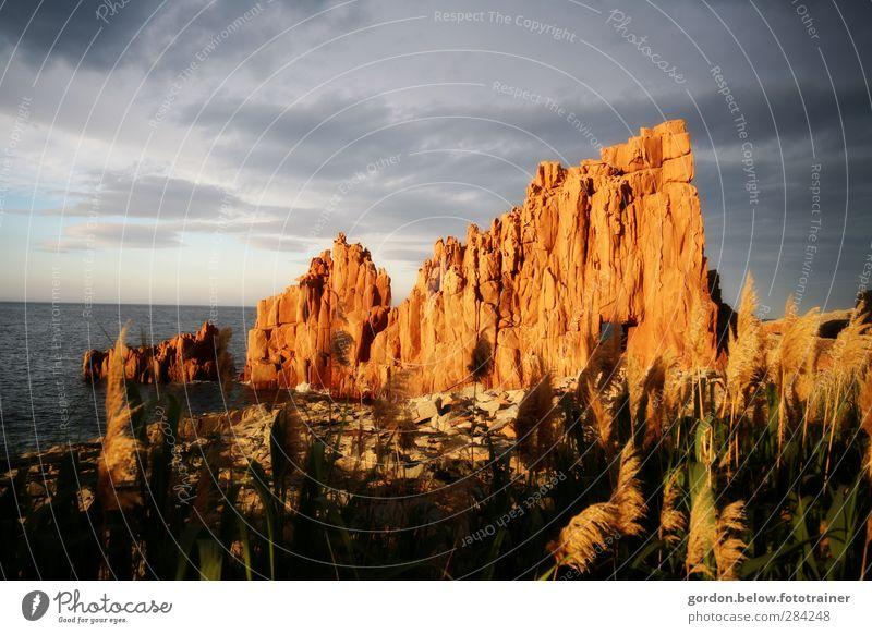 red rock Zufriedenheit Erholung Tourismus Sommer Sommerurlaub Meer Natur Landschaft Wasser Himmel Sonnenaufgang Sonnenuntergang Sonnenlicht Insel Sardinien