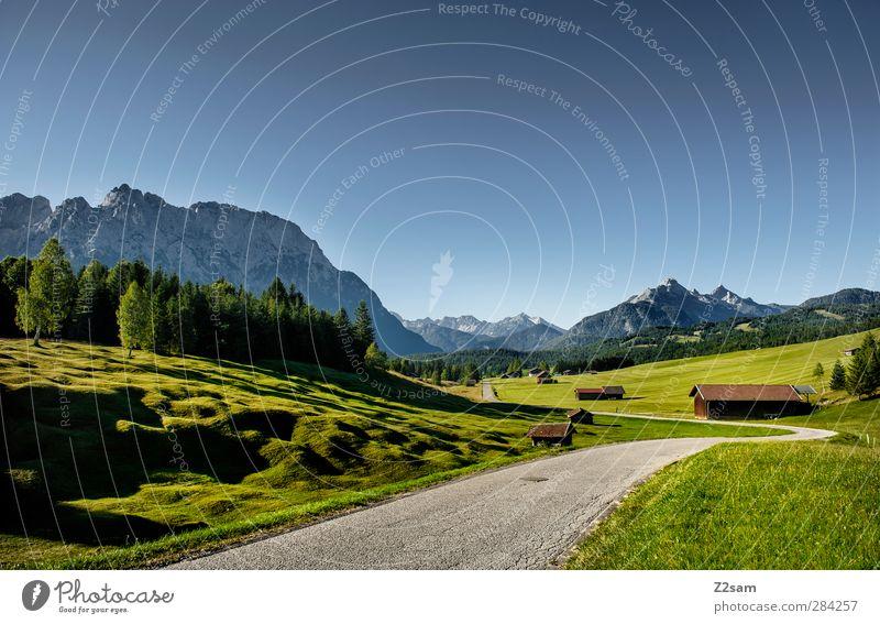 Karwendelgebirge Ferien & Urlaub & Reisen Natur Landschaft Wolkenloser Himmel Sommer Schönes Wetter Wiese Wald Alpen Berge u. Gebirge Ferne natürlich ruhig
