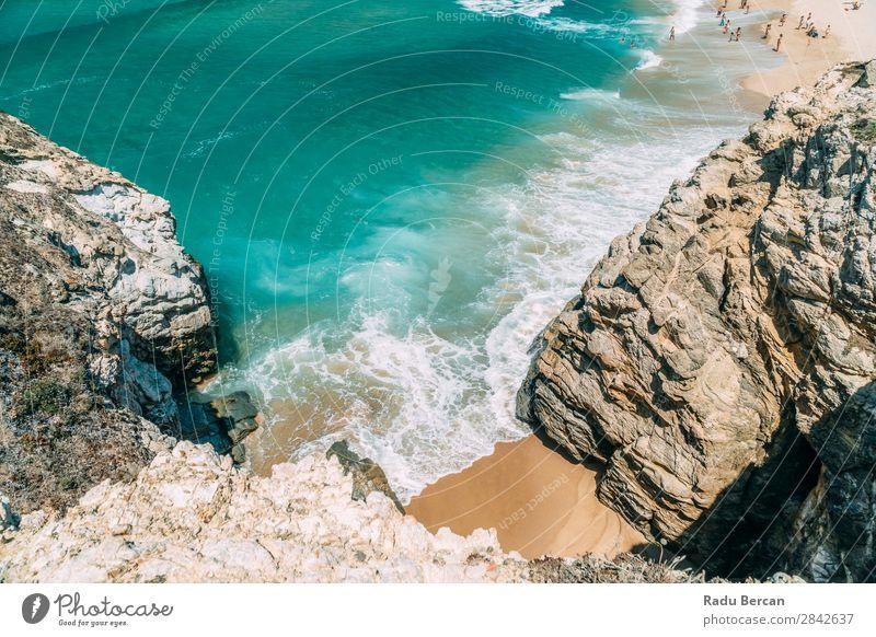 Ozeanwellen quetschen an wunderschönem Strandufer Sand schwarz Meer Landschaft Felsen Hintergrundbild Wasser Himmel Natur Ferien & Urlaub & Reisen neu tropisch