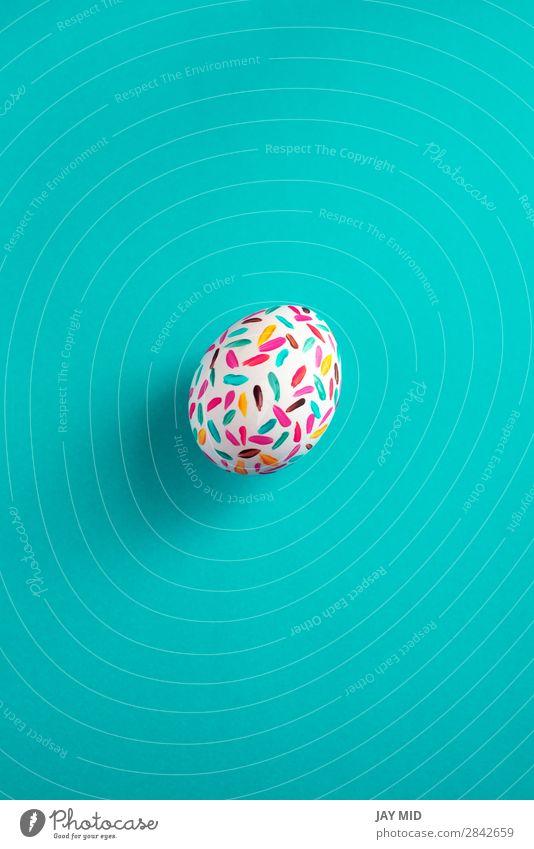 Lustige mehrfarbige Ostereier handbemalt mit blauem Hintergrund Design Freude Glück schön Dekoration & Verzierung Tisch Feste & Feiern Ostern Handwerk Kunst