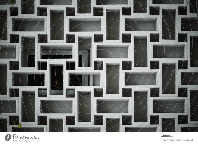 baukultur der nachkriegsmoderne Fenster Wand Architektur grau Mauer Stein Fassade Ordnung Design Beton Dekoration & Verzierung trist Quadrat DDR eckig Symmetrie